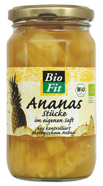 Bio Fit Ananas stukjes in glas 350g