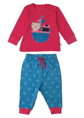 Frugi pyjama in biokatoen - Raspberry owl and cat - 3 tot 4 jaar